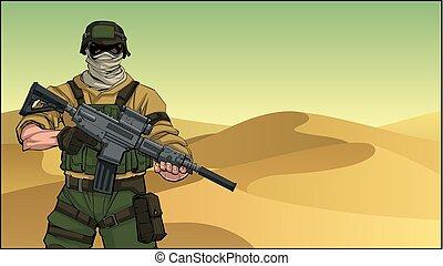 soldaat, woestijn