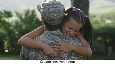 soldaat, zijn, dochter