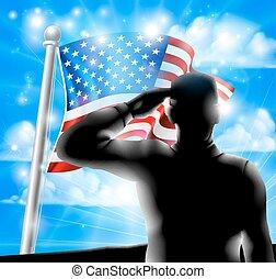 soldado, americano, silueta, bandeira, saudando