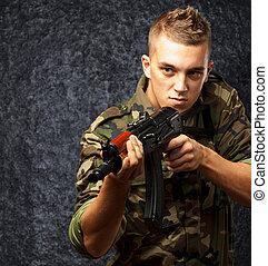 soldado, apontar, arma, retrato