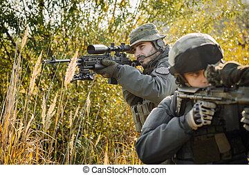 soldado, apontar, rifle