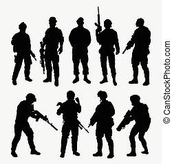 soldado, arma, postura, s, militar