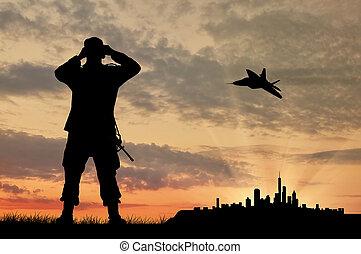 soldado, avião, silueta
