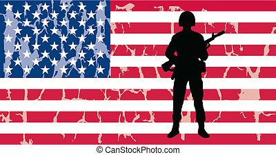 soldado, bandera estadounidense