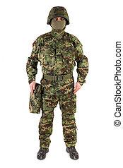 soldado, blanco, plano de fondo
