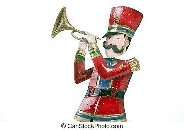 soldado brinquedo, isolado, jogador, branca, trompete