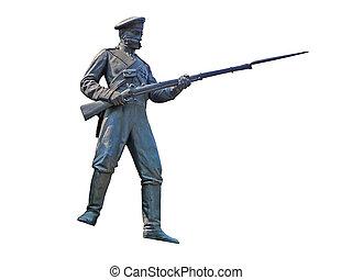 soldado, bronze, figura