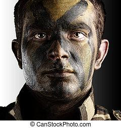 soldado, cara, pintado