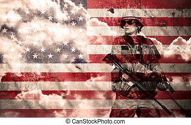 soldado, com, rifle, ligado, um, bandeira eua, fundo