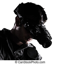 soldado, com, visão noite, óculos proteção