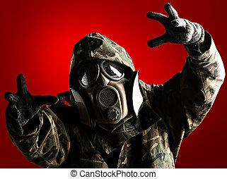 soldado, con, máscara