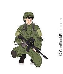 soldado, con, rifle