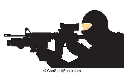 soldado, con, un, arma de fuego