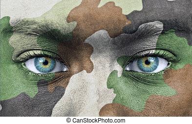 soldado, cores, rosto, exército