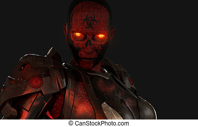 soldado, cyborg, avanzado