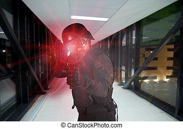 soldado, defender, a, companhia, contra, terrorismo