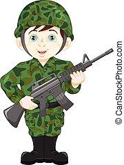 soldado, ejército, posar, niño