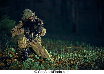 soldado, en acción