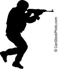 soldado, en acción, blanco, plano de fondo