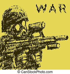 soldado, en, careta antigás, apuntar, de, asalto, rifle., vector, illustration.
