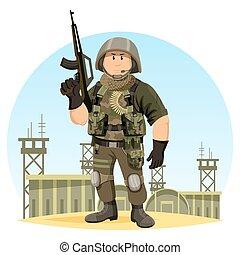 soldado, en, norteamericano, uniforme, en, guerra, base, o,...