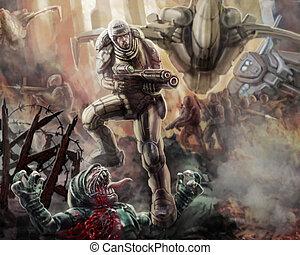 soldado, en, un, armor-suit, con, un, grande, rifle, fighting., ciencia ficción, illustration.