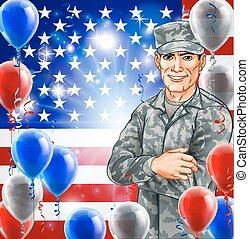 soldado, eua, ilustração