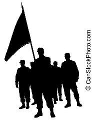 soldado, golpe, bandeira