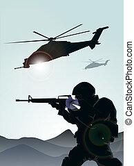soldado, helicópteros