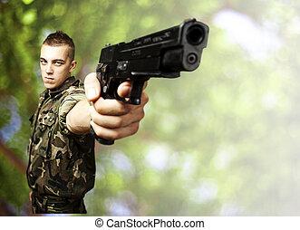 soldado, homem jovem
