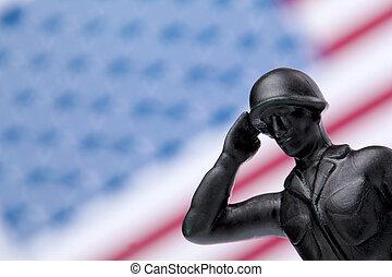 soldado, honrando, bandeira americana