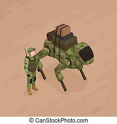 soldado, isometric, robô, ilustração