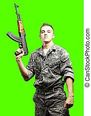 soldado, jovem, isolado