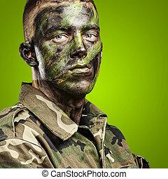 soldado, jovem, retrato