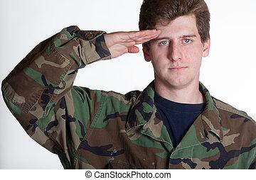 soldado, jovem, saudando