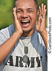 soldado, jovem, shouting