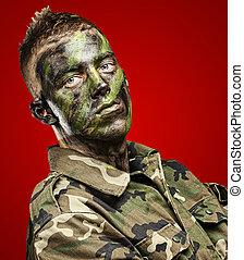 soldado, joven, retrato
