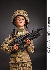 soldado, joven, rifle
