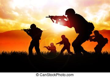 soldado, ligado, a, campo