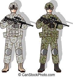 soldado, lleno, engranaje