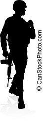 soldado, militar, detalhado, silueta