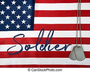 soldado, militar, palavra, cão, etiquetas