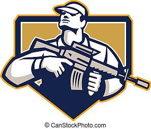 soldado, militar, serivceman, rifle de asalto, retro