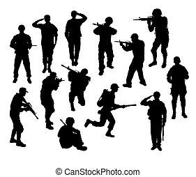 soldado, militar, y, arma, siluetas