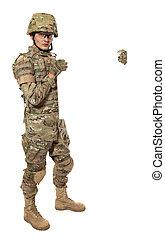 soldado, modernos, segurando, cartaz