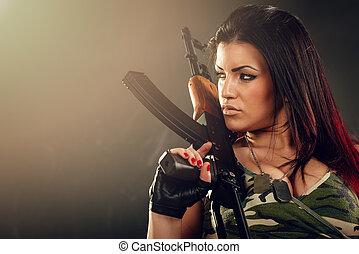 soldado, mulher, atraente