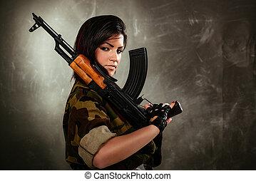 soldado, mulher