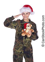 soldado, mulher, salutes