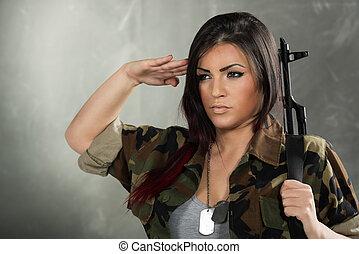 soldado, mulher, saudando
