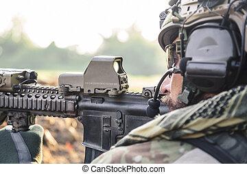 soldado, norteamericano, apuntar, rifle